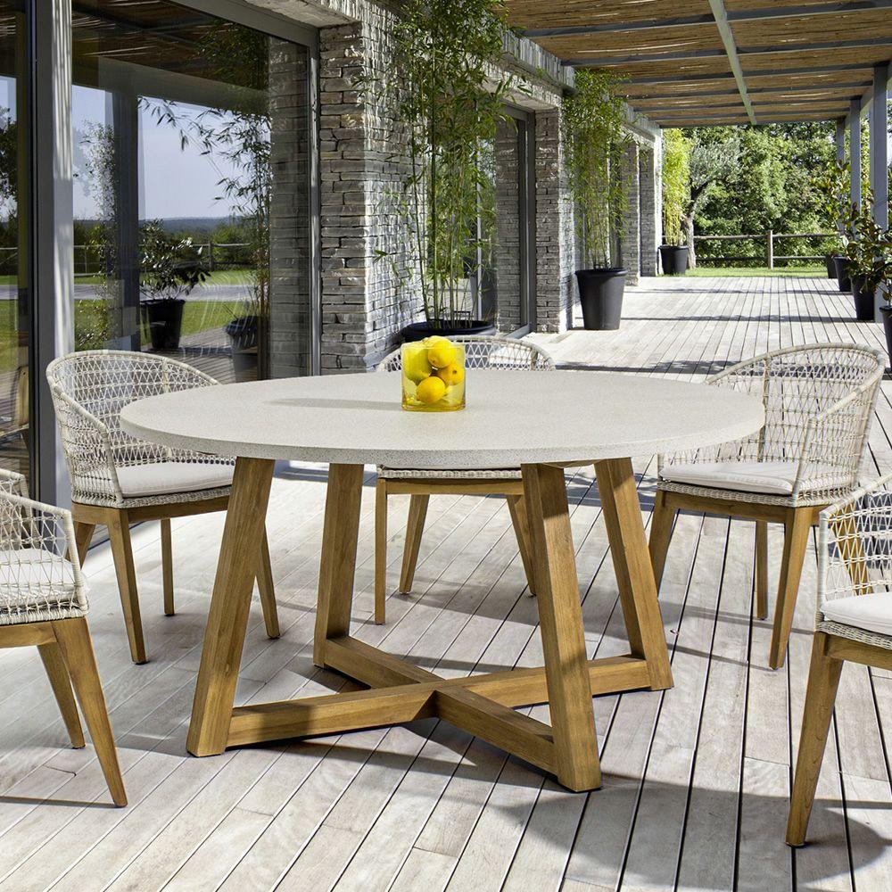 Sila t tavolo in teak con piano in fibra di vetro - Tavolo di vetro ...