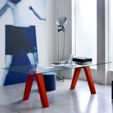 Aron - Tavolo di design di Bontempi Casa, 200 x 106 cm fisso, con struttura in legno e piano in vetro, disponibile in diversi colori