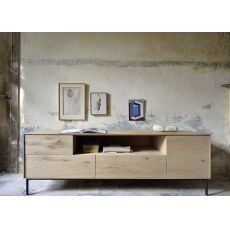 Bird-TV - Ethnicraft wooden TV stand with doors and drawers, different finishes available