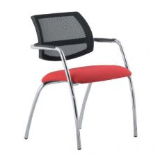 ML133 - Chair for waiting room, with net backrest and upholstered seat, different finishes available