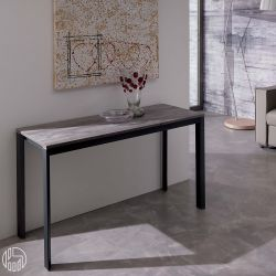 Voil console en m tal plateau en bois 125 x 47 cm extensible disponible - Console extensible belgique ...