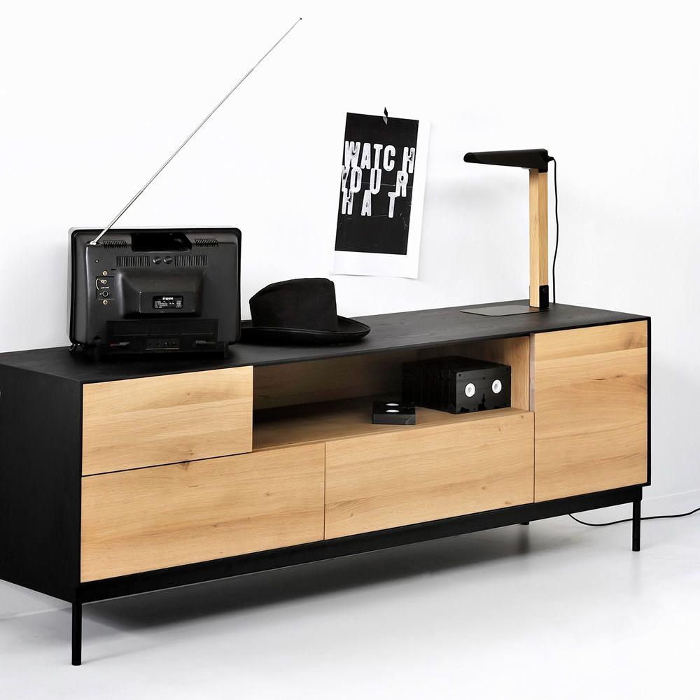 Blackbird tv mobile porta tv ethnicraft in legno con ante e cassetti sediarreda for Mobile porta tv in legno