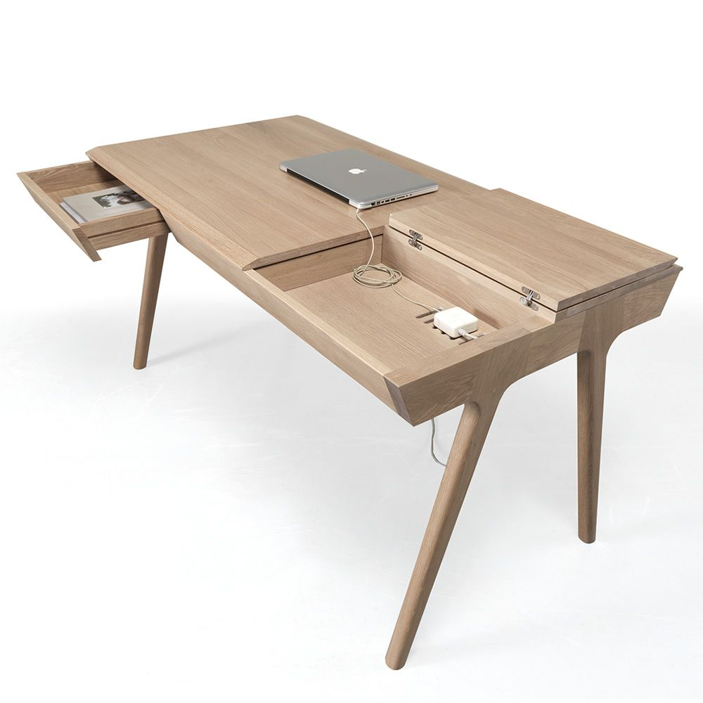 Metis Design Wooden Work Desk With Drawers And Compartments