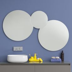 Acqua C - Composizione di specchi rotondi, disponibile anche con luce LED