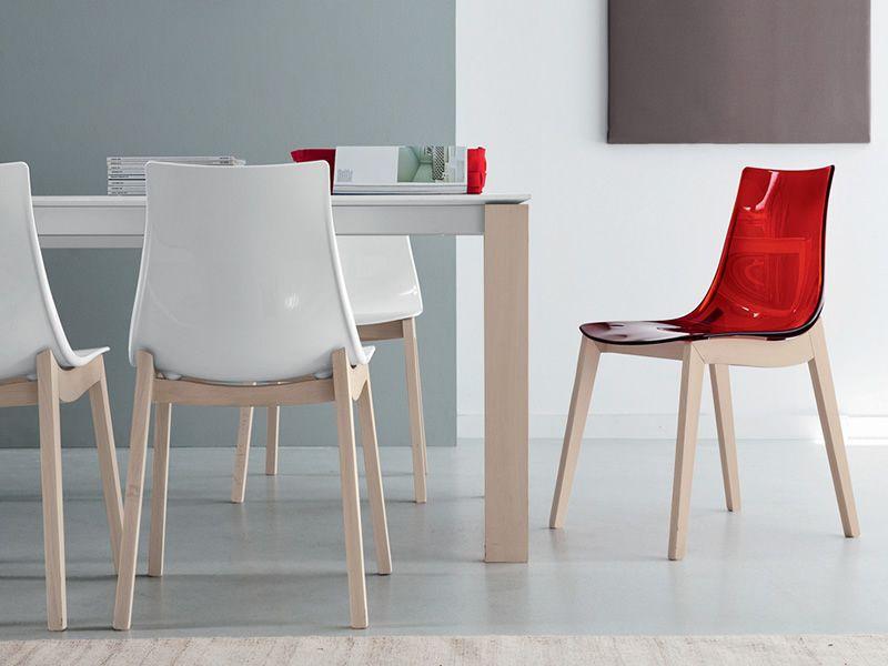 Cb1507 led w: silla connubia   calligaris de madera con asiento de ...
