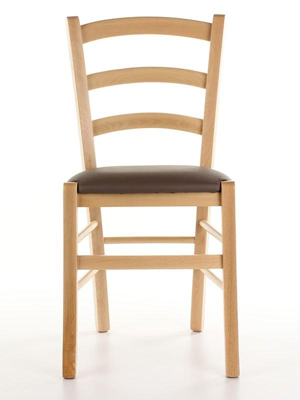 110 - Sedia rustica in legno tinta naturale, seduta rivestita in ...