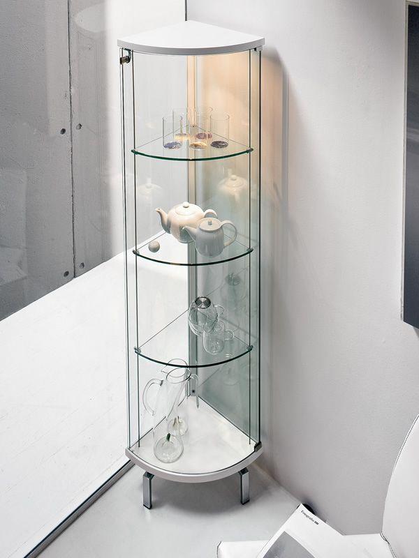 Parella 6429 tonin casa corner cabinet made of wood and for Moderne eckvitrine