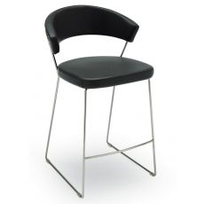 CB1087 New York - Connubia - Calligaris metal stool, with leather or imitation leather covering, seat height 65 cm