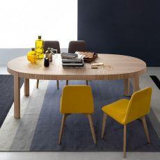 CB398-E Atelier - Table Connubia - Calligaris en bois, plateau ovale 170 x 100 cm à rallonge
