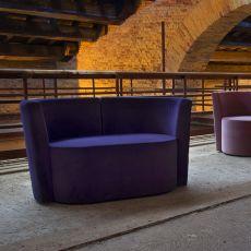 Dalt L - Design sofa Domingo Salotti, available in fabric, leather or imitation leather, different colors