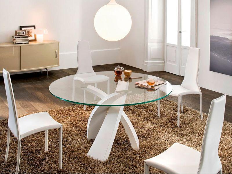 Eliseo 8028 tavolo tonin in metallo con piano in vetro - Tavoli da pranzo rotondi moderni ...