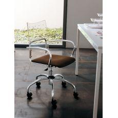 Sinuè - Sedia girevole e regolabile Midj in metallo, seduta imbottita e schienale in metacrilato, diversi colori disponibili