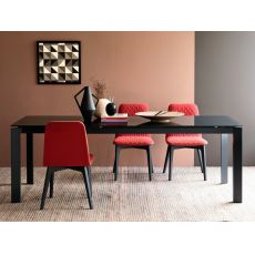 CB4010 110 Baron - Connubia - Calligaris metal table, different tops available, 110 x 70 cm extendable