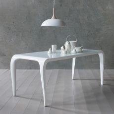 Aristocrito - Table design en polyuréthane, fixe ou extensible, plateau en verre, disponible en différentes dimensions et couleurs