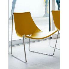 Apelle AT - Sedia Midj in metallo, seduta in cuoio o legno, diversi colori