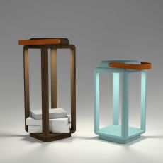 Nauset - Lamp lantern Valsecchi in wood, with LED light, different colors and sizes available