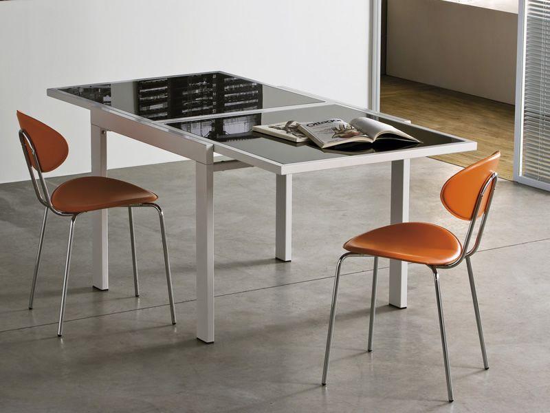 Vr90 tavolo allungabile in metallo con piano in vetro 90 - Tavolo in vetro nero ...
