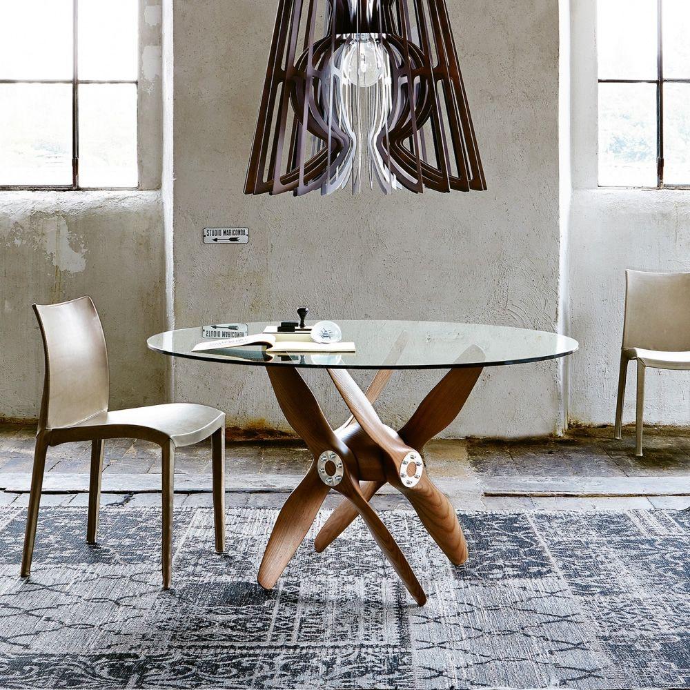 tupolev designer tisch colico aus holz runde glasplatte in verschiedenen gr en verf gbar. Black Bedroom Furniture Sets. Home Design Ideas