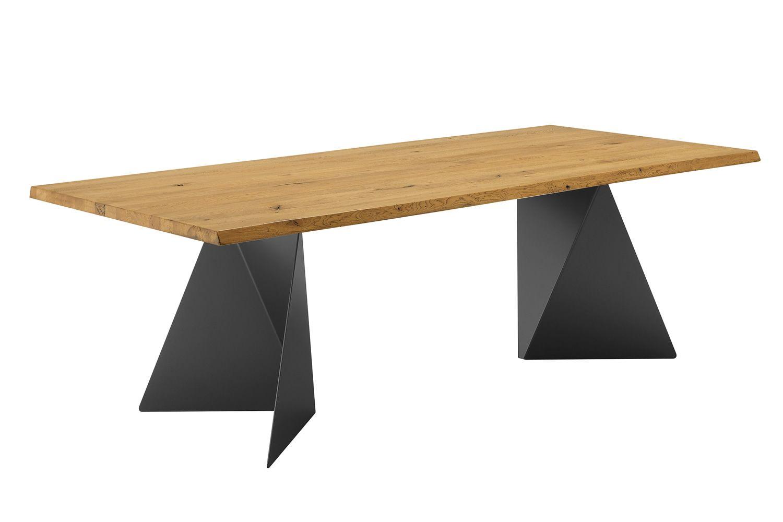 Euclide f tavolo fisso domitalia in metallo piano in for Tavolo rotondo legno chiaro