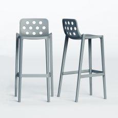 Isidoro - Sgabello alto in metallo e polimero, impilabile, altezza seduta 65 o 76 cm, disponibile in diversi colori, anche per esterno