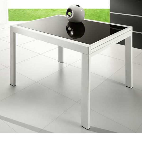 Vr120 extendable metal table with glass top 120 x 90 cm for Table extensible 120 240 cm allonge integree