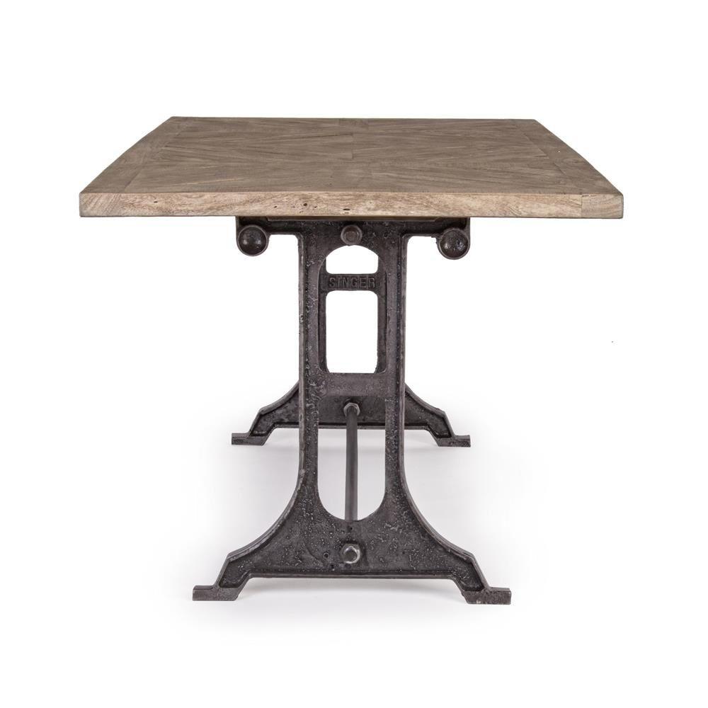 Accra t tavolo urban style in metallo con piano in for Tavolo di design in metallo