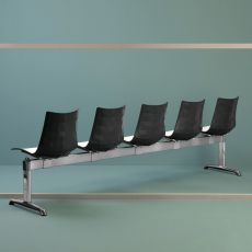 Panca Zebra Bicolour - Bench for waiting rooms made of metal and polymer, with or without small table, different sizes and colours available