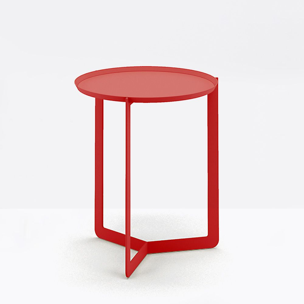 Round1   Small Round Table In Lacquered Metal, Color Red Poppy