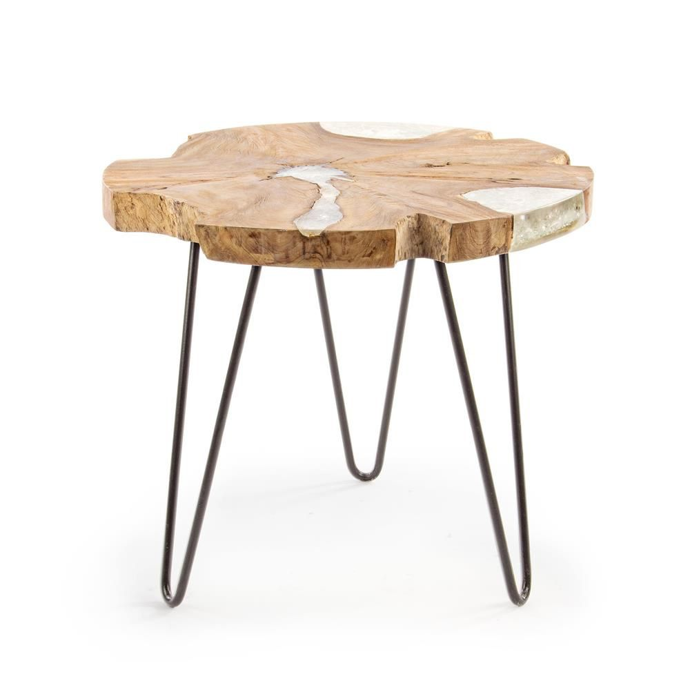 Bangui table basse design avec structure en m tal et for Table basse bois teck