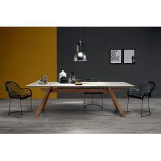 Zeus-C - Tavolo fisso Midj con struttura in legno impiallacciato, piano in ceramica, diverse misure disponibili