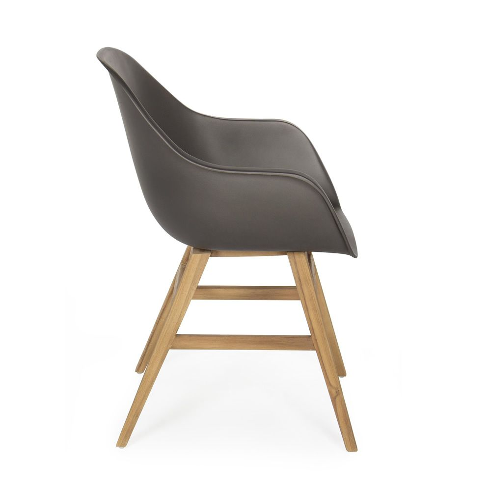 sila p fauteuil en teck avec l 39 assise en fibre de verre. Black Bedroom Furniture Sets. Home Design Ideas