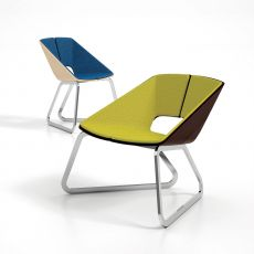Hug - Infiniti metal armchair, seat and backrest in wood with covering