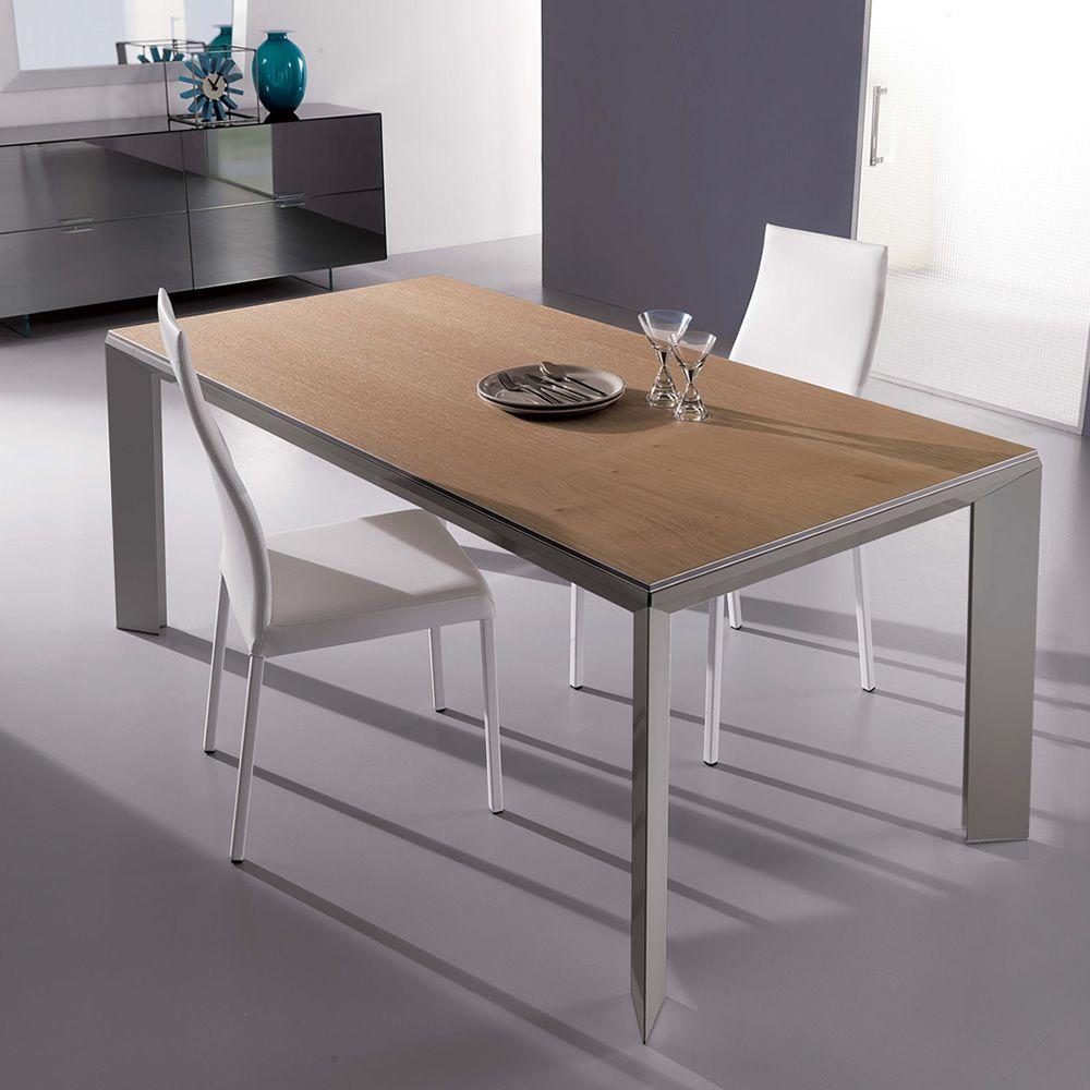 Metr l tavolo moderno in metallo piano in legno for Tavolo rovere allungabile