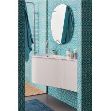 Versa - Mobile bagno sospeso con piano e lavabo integrato in Mineralmarmo®, cassettone e anta, disponibile in diversi colori