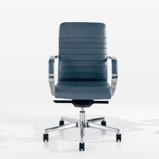 Celine Plissé Low - Executive armchair with high backrest, available in fabric, leather or imitation leather