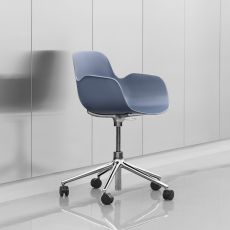 Form-PS - Normann Copenhagen aluminium armchair, polypropylene seat, different colours available, swivel and adjustable, with wheels