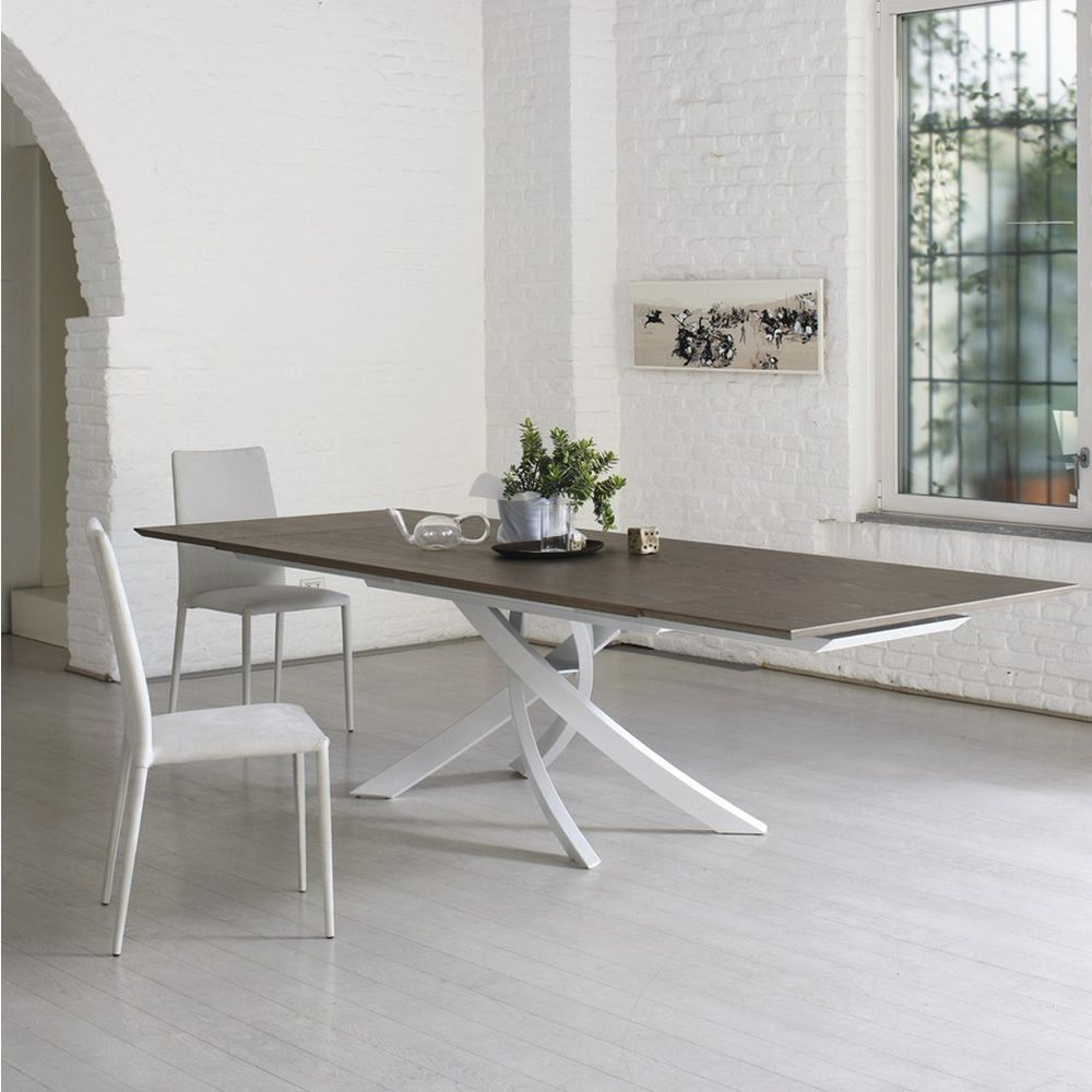 Artistico wood ext table design de bontempi casa for Pietement de table design