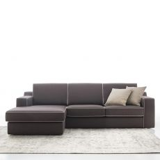 Joan P - 3 seater sofa with chaise longue, totally removable covering, different upholsteries and colors available, reclining backrest