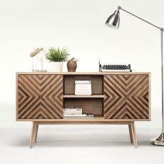 Casanova - Mobile da soggiorno in legno, con ante scorrevoli, mensole e cassetti