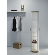 Pop - Swivel polypropylene shoe rack with metal or wooden base, different colours available