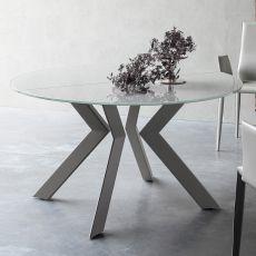 Armenida - Table design ronde, à rallonge, dotée de piétement en métal, plateau en verre, disponible en différentes dimensions