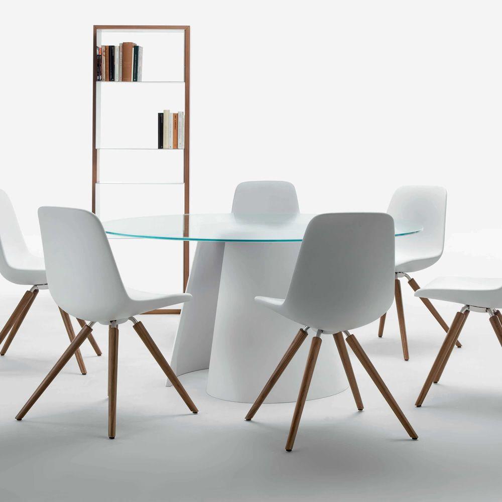 Twister mesa tonon de dise o en cristalplant fijo con for Cristal redondo para mesa