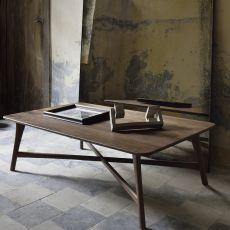 Osso-CT - Tavolino Ethnicraft in legno di noce, rotondo o rettangolare