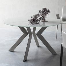 Armenida - Design table, round, extendible, with metal structure, top in glass, different sizes