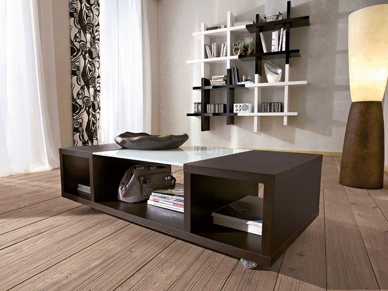 pa350 couchtisch aus holz auf rollen zentrale glasplatte. Black Bedroom Furniture Sets. Home Design Ideas