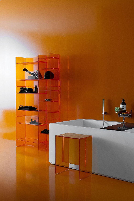 Miroir salle de bain tablette spot for Accessoires salle de bain couleur orange