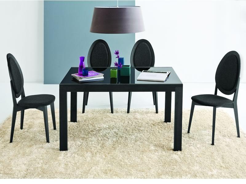 431 silla de madera lacada color grafito con asiento for Sillas de madera tapizadas en tela