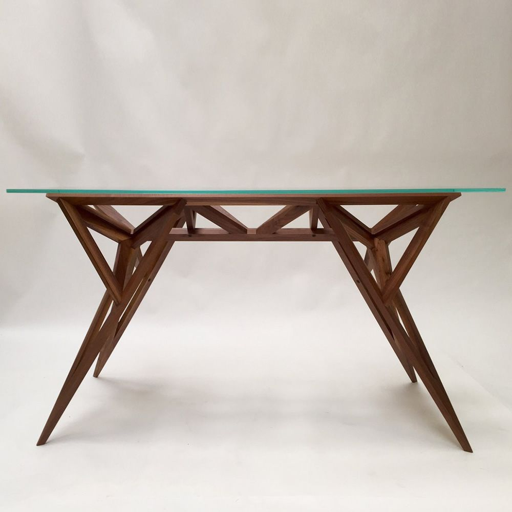 Schegge tavolo di design valsecchi in legno con piano in for Tavolo vetro legno