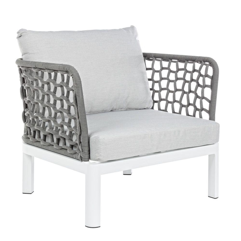 Zante petit fauteuil en aluminium et en filet de corde - Fauteuil pour jardin ...