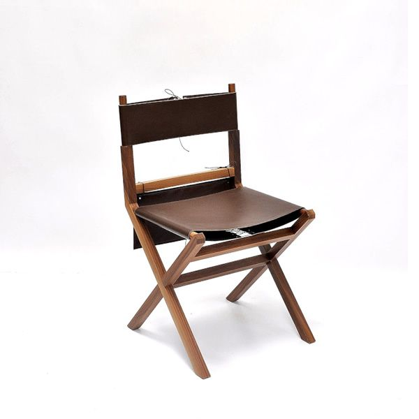 Lina Chair Made Of Walnut With Leather Seat And Storage Saddlebag